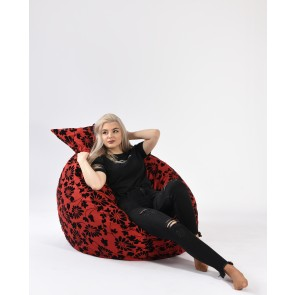 Set Fotoliu Puf Matusalem + Perna decorativa - Poppy (Gama Premium Textil) umplut cu fulgi de burete memory mix®