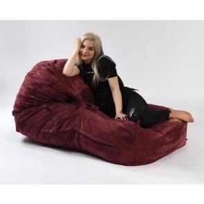 Fotoliu Pufrelax Yoga XL - Velvet Marsala (Gama Premium Textil) umplut cu fulgi de burete memory mix