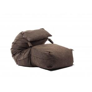 Fotoliu Yoga XL cu Perna, Mocha Latte (Gama Premium Rustic) umplut cu fulgi de burete memory mix