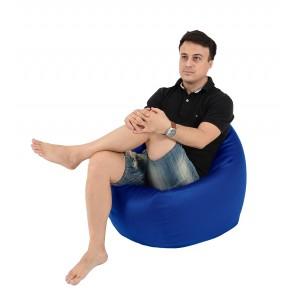 Fotoliu Beanbag Relaxo - Albastru (piele eco) umplut cu perle polistiren