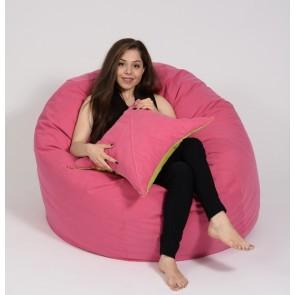 Set Fotoliu Puf King Size + Perna decorativa - Pink (Gama Diamond) umplut cu fulgi de burete memory mix®
