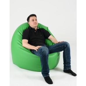Fotoliu Beanbag Relaxo XL - Verde (piele eco) umplut cu perle polistiren