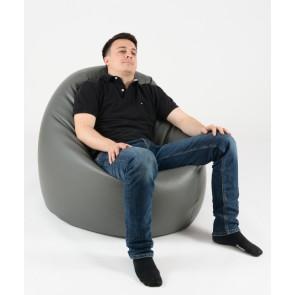 Fotoliu Beanbag Relaxo XL - Gri (piele eco) umplut cu perle polistiren