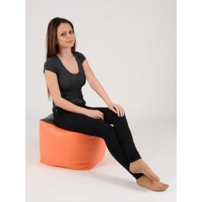 Fotoliu Taburet Cub XL - Black-Top Orange (piele eco) umplut cu perle polistiren