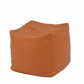Fotoliu Taburet Cub XL - Brown (piele eco) umplut cu perle polistiren