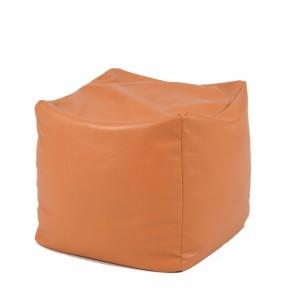 Fotoliu Taburet Cub - Caramel  (piele eco)  umplut cu perle polistiren