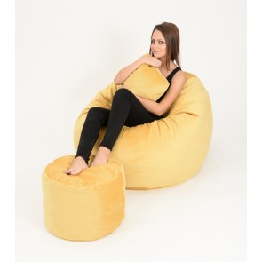 Set Fotoliu Puf Matusalem + Otoman + Perna decorativa - Lemon (Gama Premium) umplut cu fulgi de burete memory mix®