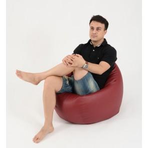 Fotoliu Beanbag Relaxo - Bordo (piele eco) umplut cu perle polistiren