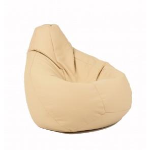 Fotoliu beanbag pentru Copii (4-14 ani) Nirvana Light - Bej (piele eco) umplut cu perle polistiren