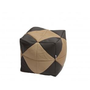 Fotoliu (Mic) Taburet Cub - Beige Diamond (piele eco) umplut cu perle polistiren (beanbag marca Pufrelax) Fabricat in Romania