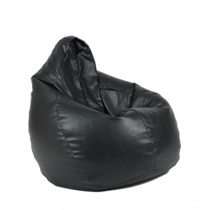 Fotoliu beanbag pentru Copii (4-14 ani) Nirvana Hobbit - Black (piele eco) umplut cu perle polistiren