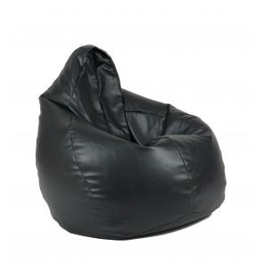 Fotoliu beanbag pentru Copii (4-14 ani) Nirvana Light - Black (piele eco) umplut cu perle polistiren