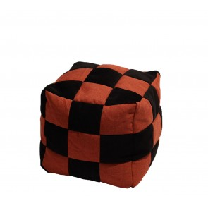 Fotoliu Taburet Cub - Black Flames (Gama Premium Textil) umplut cu perle polistiren