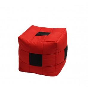 Fotoliu Taburet Cub - Black Spotted Cube (pretabil si la exterior) umplut cu perle polistiren
