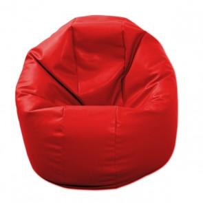 Fotoliu Puf pentru Copii (2-14 ani) Relaxo - Bloody Red (piele eco) umplut cu perle polistiren