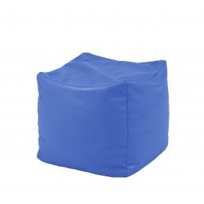 Fotoliu Taburet Cub XL - Albastru  (piele eco) umplut cu perle polistiren