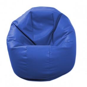 Fotoliu Puf pentru Copii (2-14 ani) Relaxo - Albastru (piele eco) umplut cu perle polistiren