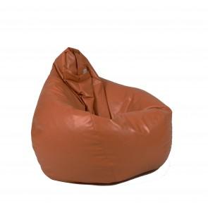 Fotoliu beanbag pentru Copii (4-14 ani) Nirvana Light - Brown (piele eco) umplut cu perle polistiren
