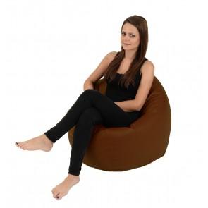 Fotoliu Beanbag Relaxo - Brown (Gama Premium PU) umplut cu perle polistiren