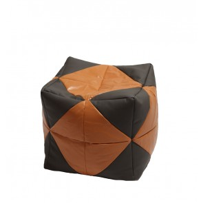 Fotoliu (Mic) Taburet Cub - Caramel Filling (piele eco) umplut cu perle polistiren (beanbag marca Pufrelax) Fabricat in Romania