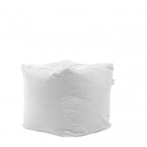 Fotoliu Pufrelax Taburet Cub - Angora Grey (Gama Premium) cu husa detasabila textila, umplut cu perle polistiren