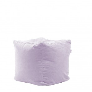 Fotoliu Pufrelax Taburet Cub - Lilac (Gama Premium) cu husa detasabila textila, umplut cu perle polistiren