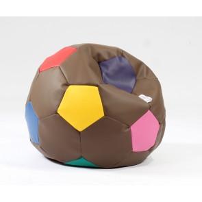 Fotoliu pentru copii 3-10 ani, Minge Telstar Junior, Chocolate Sprinkles,piele eco umplut cu perle polistiren