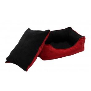 Culcus marime M pentru caine sau pisica, Husa detasabila, Interior IMPERMEABIL - Pufrelax Pets, Red & Black