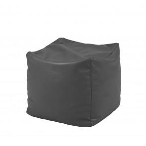 Fotoliu Taburet Cub XL - Gri (piele eco) umplut cu perle polistiren