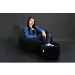 Set Fotoliu Puf Matusalem + Otoman - Black Velvet (Gama Diamond) umplut cu fulgi de burete memory mix®