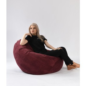 Fotoliu Pufrelax Nirvana Grande - Velvet Marsala (Gama Premium Textil) cu husa detasabila textila, umplut cu perle polistiren