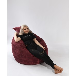 Set Fotoliu Puf Matusalem + Perna decorativa - Valvet Marsala (Gama Premium Textil) umplut cu fulgi de burete memory mix®