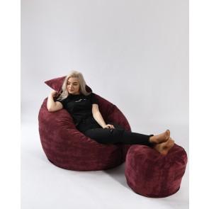 Set Fotoliu Puf Matusalem + Otoman + Perna decorativa - Velvet Marsala (Gama Premium Textil) umplut cu fulgi de burete memory mix®