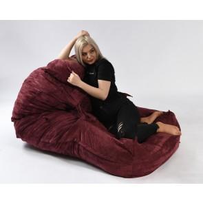 Fotoliu Pufrelax Yoga XL + Perna - Velvet Marsala (Gama Premium Textil) umplut cu fulgi de burete memory mix