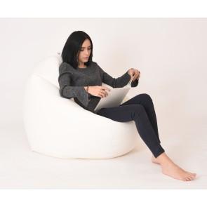Fotoliu Beanbag Relaxo XL - White (Gama Premium PU) umplut cu perle polistiren