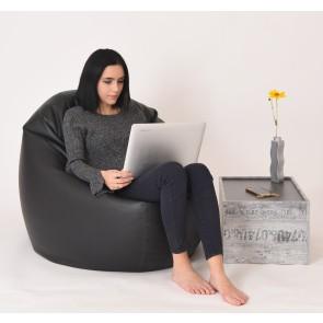 Fotoliu Beanbag Relaxo XL - Black (piele eco) umplut cu perle polistiren