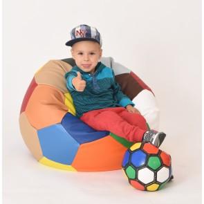 Fotoliu Puf pentru copii (3-10 ani) Minge Telstar - Junior - Mozaic (piele eco) umplut cu perle polistiren