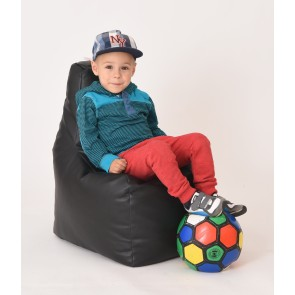 Fotoliu Puf tip Scaun pentru copii (2-8 ani) Sunlounger Junior - Black (piele eco) umplut cu perle polistiren