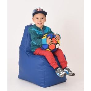 Fotoliu Puf tip Scaun pentru copii (2-8 ani) Sunlounger Junior - Blue (piele eco) umplut cu perle polistiren