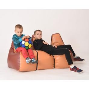 Fotoliu Puf pentru copii (2-8 ani) Canapea S3 Pufrelax - Caramel & Chocolate (piele eco) umplut cu perle de polisitren