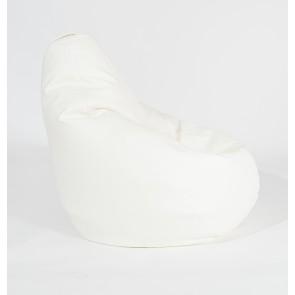 Fotoliu Puf tip Sac Nirvana Light - Alb (piele eco) umplut cu perle polistiren