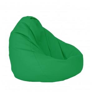 Fotoliu Puf tip sac Nirvana Grande - Verde (piele eco) umplut cu perle polistiren