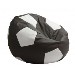 Fotoliu Beanbag tip Minge Telstar XXL - Dark Grey  (GAMA PREMIUM PU) umplut cu perle polistiren