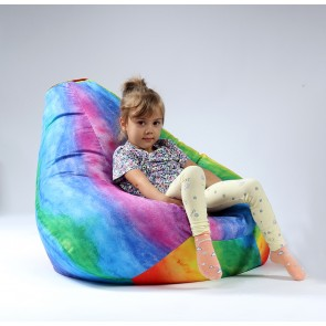 Fotoliu Puf tip Sac Nirvana Hobbit - Rainbow Watercolour, Imprimat (pretabil si la exterior) umplut cu perle polistiren
