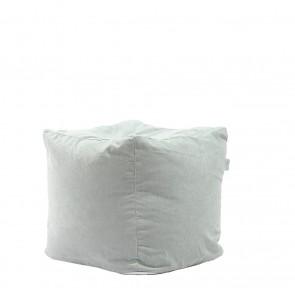Fotoliu Pufrelax Taburet Cub - Light Mint (Gama Premium) cu husa detasabila textila, umplut cu perle polistiren