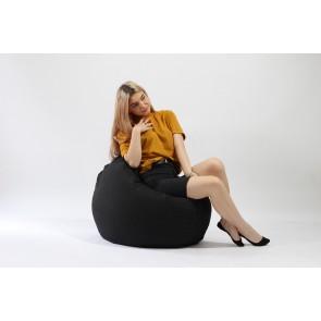 Fotoliu Pufrelax Relaxo - Eerie Black (Gama Premium) cu husa detasabila textila, umplut cu perle polistiren