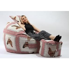 Fotoliu Pufrelax King Size + Otoman + Perna decorativa - Henny (Gama Premium Rustic High) umplut cu fulgi de burete memory mix®