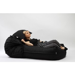 Fotoliu Pufrelax Yoga XL + Perna - Eerie Black (Gama Premium) umplut cu fulgi de burete memory mix®