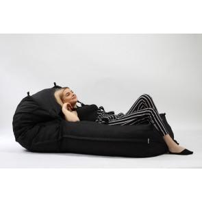 Fotoliu Pufrelax Yoga XL - Eerie Black (Gama Premium) umplut cu fulgi de burete memory mix