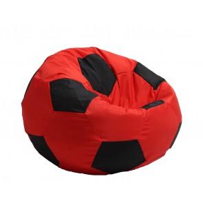 Fotoliu Puf pentru copii (3-10 ani) Minge Telstar - Junior -  Panama Red & Black (pretabil si la exterior) umplut cu perle polistiren